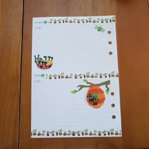Weeked planner page before the pen